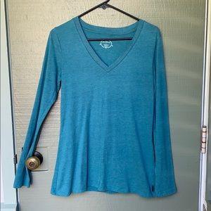 PRANA- size small turquoise long sleeve shirt